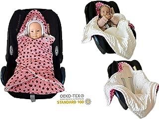 SWADDYL Baby Girl Swaddle Blanket I car seat I Stroller I Hooded I Newborn Blanket I Made in Europe (RoseCreme)