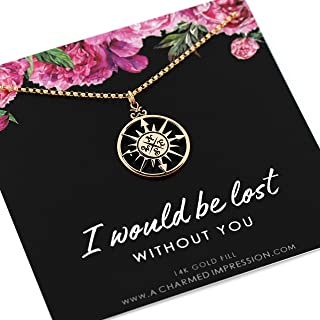 Romantic Gifts for Women • You are my Compass Necklace • I'd be Lost Without You • 14k Gold Jewelry • Unique Gift for Wife Girlfriend Best Friend • Engagement Anniversary Gifts for Women