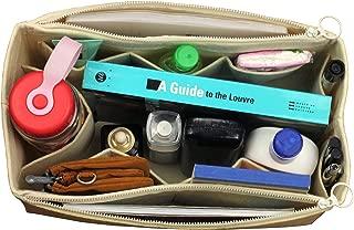 [Fits Neverfull GM/Speedy 40, Beige] Felt Organizer (with Double Zipper Bag), Bag in Bag, Wool Purse Insert, Customized Tote Organize, Cosmetic Makeup Diaper Handbag