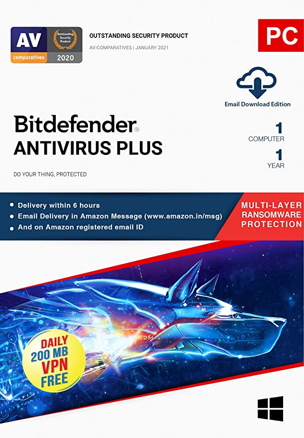 Bitdefender - 1 Computer,1 Year - Antivirus Plus | Windows | Latest Version  | Email Delivery in 2 Hours- No CD | : Amazon.in: Software