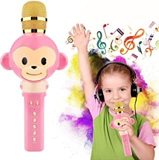 Selinn Microphone for Kids Karaoke Microphone Bluetooth Wireless Microphone Portable Handheld Karaoke Machine Toys Gifts Singing Recording Home KTV Party iPhone Android PC Smartphone (Pink) …