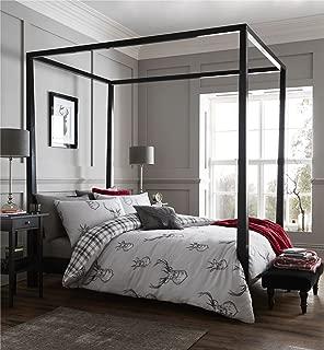 STAG Deer Plaid Tartan Check Highland Grey White Cotton Blend USA Queen Size (230CM X 220CM - UK King Size) Duvet Comforter Cover