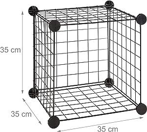 Relaxdays Étagère modulable Grille Treillis 9 Cubes Compartiments DIY métal Meuble Rangement Grillage 35x35 cm, Noir