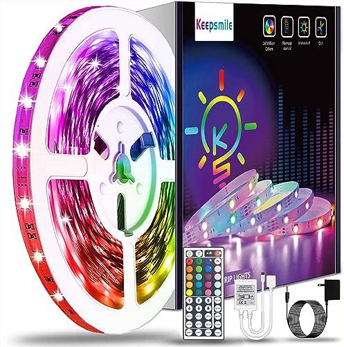 40ft Led Strip Lights Keepsmile RGB Color Changing Led Light Strips SMD 5050 LED Strips with Remote Led Lights for Be...