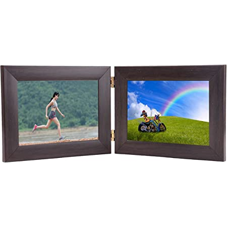 Wens Dual Picture Glass Front Horizontal MDF Photo Frame (MDF, 17.78 cm x 45.72 cm x 1.2 cm, Brown, Set of 2) (WS-4043)