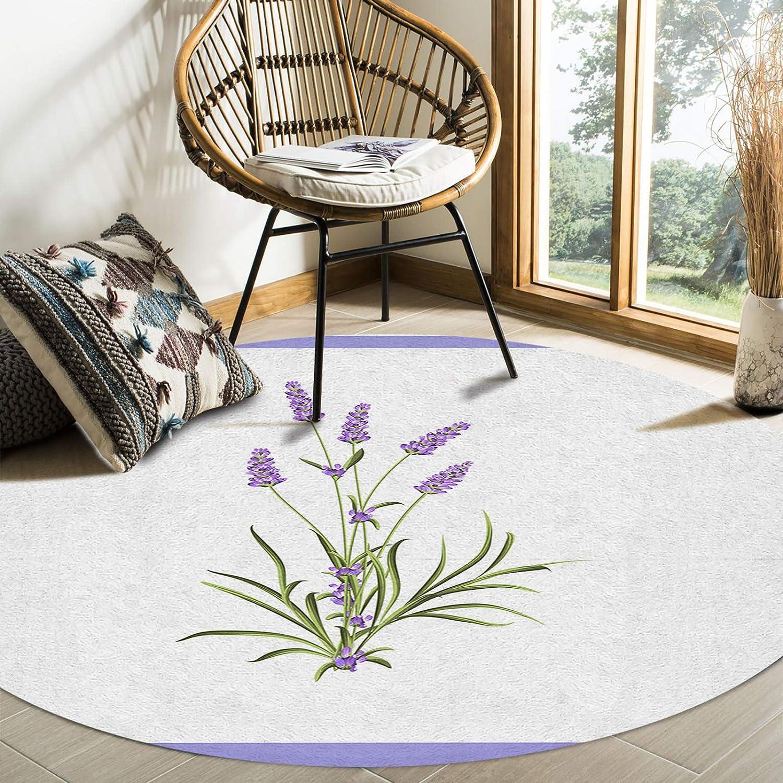 Be super welcome OneHoney Under blast sales Rustic Watercolor Lavender Round 36In Indoor Rugs Area