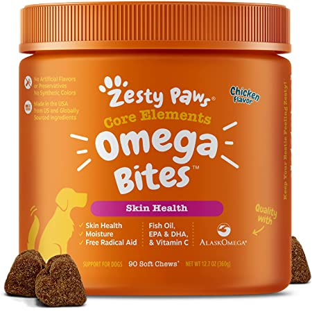 Zesty Paws Omega Bites Soft Chews - with AlaskOmega for EPA & DHA Omega-3 Fatty Acids to Support Normal Skin Moisture - Antioxidants for Free Radical Support