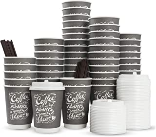 To Go Disposable Hot Coffee Cups with Lids & Stirrers   12oz 50pcs Pack Double Wall, Recyclable, Insulated   No Sleeves Need   Takeaway Paper Cups for Hot Drinks