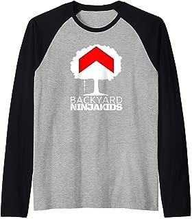 Backyard Ninja Kids Graphic Logo in white Raglan Baseball Tee