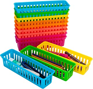 YAOYUE 12 Pack Pencil Basket Trays with 100 Pcs Paper Clips,Colorful Classroom Pencil Marker Crayon Holder Organizer Baske...
