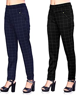 Heel & Toe Checks Printed Jeggings for Womens and Girls Formals/Casual Stretchable - 26-32 Inch Waist Black & Blue(Pack of 2)