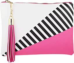 B BRENTANO Vegan Clutch Bag Pouch with Tassel Accent