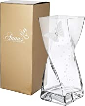 Butterfly Vase - Large Handmade Glass Vase Decorated with Crystal from Swarovski & Sandblasted Butterfly – in a Golden Gift Box – Diamond Collection - Clear, 11.8 in (30 cm)