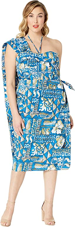 Plus Size Alfred Shaheen Blue Tapa Tapestry Print Hawaiian