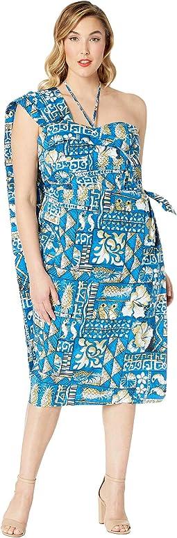 Plus Size Alfred Shaheen Blue Tapa Tapestry Print Hawaiian