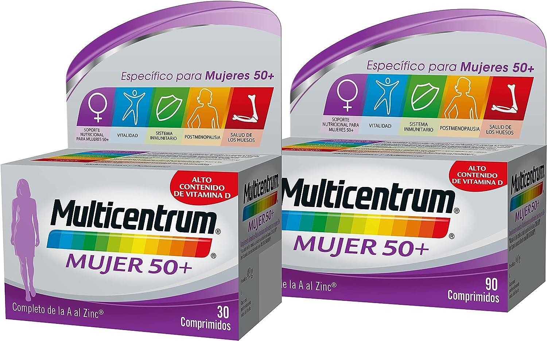 Multicentrum Mujer 50+ Complemento Alimenticio Multivitaminas con 13 Vitaminas y 11 Minerales, Sin Gluten, Pack de 90 y 30 Comprimidos