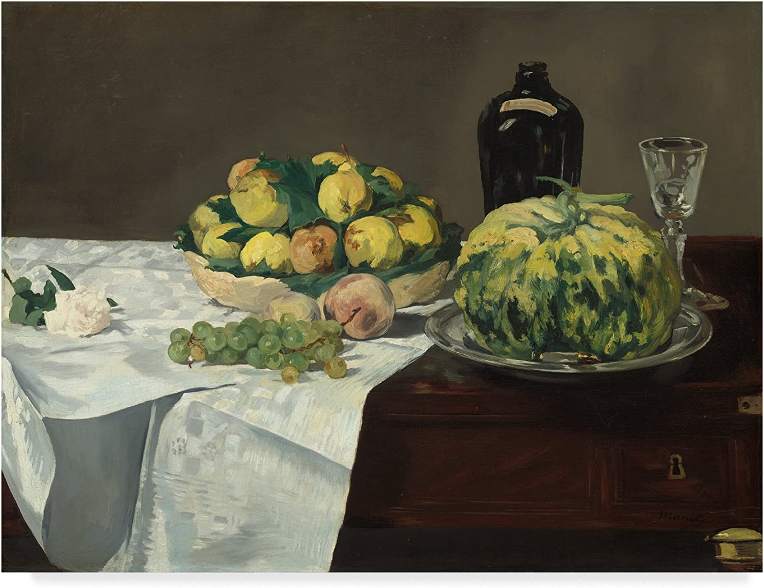 Trademark Fine Art Still Life with Melon and Peaches by Edouard Manet, 14x19, Multicolor