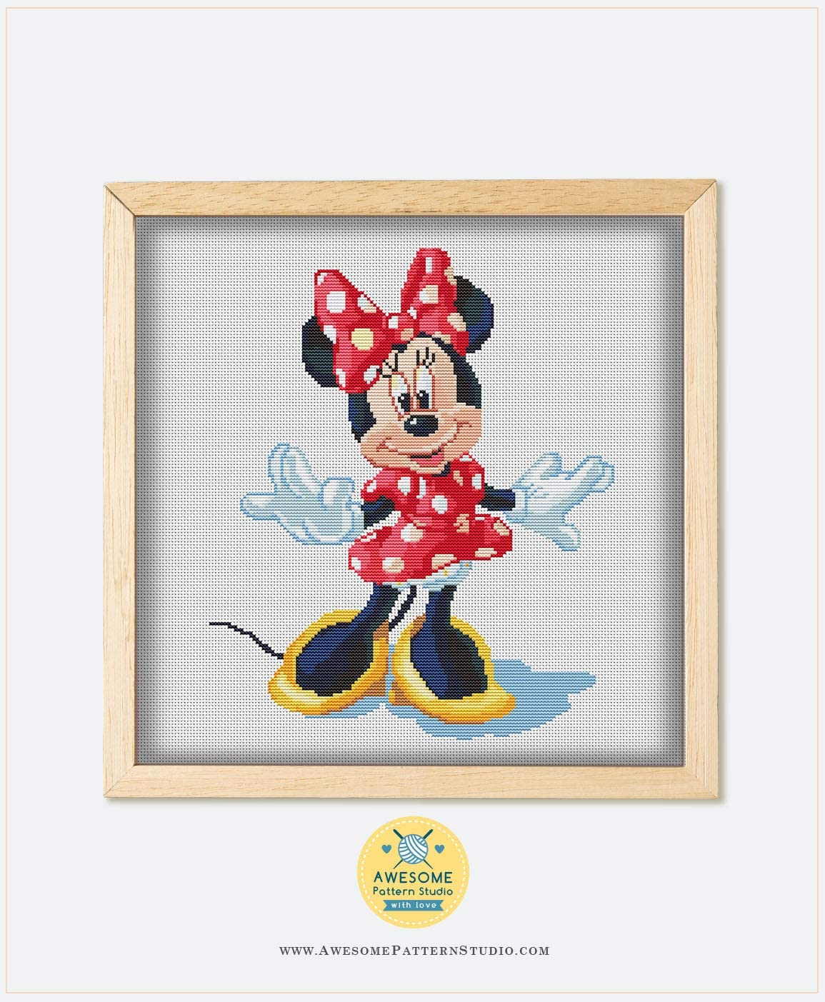 Embroidery Pattern Kit Fabrick and 4 Printed Color Schemes Inside Needles Threads Mickey and Minnie Mouse K725 Counted Cross Stitch KIT#2