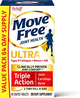 Type II Collagen, Boron & HA Ultra Triple Action Tablets, Move Free (64 Count in A Box), Joint Health Supplement with Just...