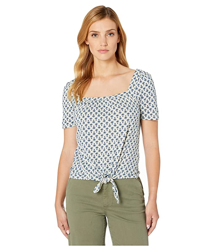 Lucky Brand  Super Soft Printed Tie Front Top (Blue Multi) Womens Clothing