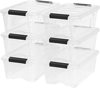 IRIS USA, Inc. TB-42 12 Quart Stack & Pull Box, Clear, 6 Stack and Pull