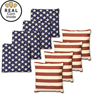 Real Corn Filled Cornhole Bags - Set of 8 Bean Bags for Corn Hole Game - Regulation Size & Weight - 5 Color Combinations to Choose from!
