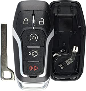 KeylessOption Keyless Entry Remote Smart Key Fob Shell Case Button Pad Cover For Ford Fusion Mustang Explorer