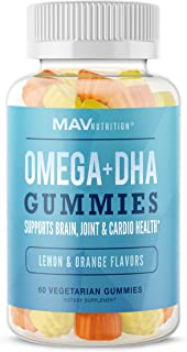 MAV Nutrition Fish Oil Omega 3 Gummies as DHA + Brain Supplement to Support Brain, Joint & Cardiovascular Health, Natural ...