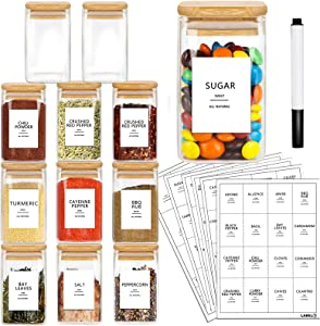 AISIPRIN 12 Pcs Glass Spice Jars with Bamboo Airtight Lids and 114 Labels - 9oz Mini Square Food Storage Containers for Kitchen, Seasoning, Coffee, Herb - Included Marker