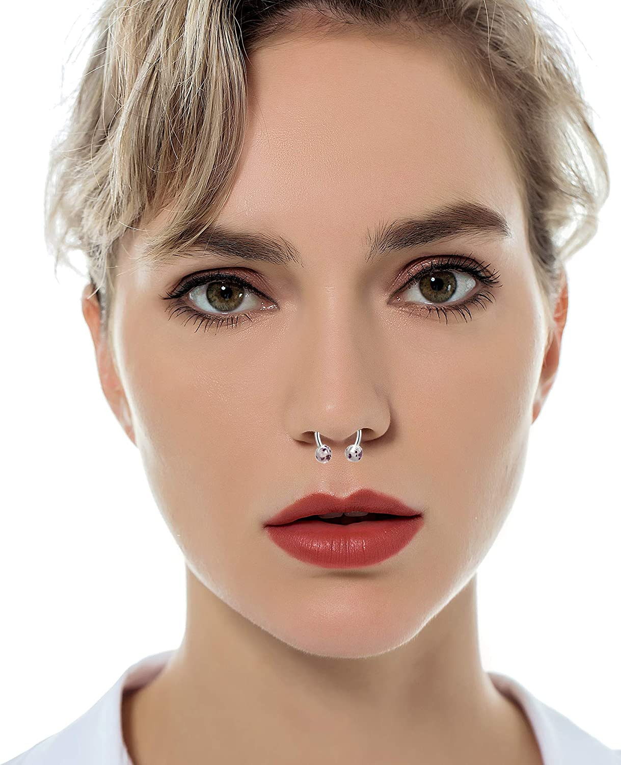 Tornito 16G 30Pcs Stainless Steel Horseshoe Nose Septum Rings Piercing Jewelry Cartilage Helix Tragus Earring Hoop Lip Horseshoe Piercing Retainer for Women Men 8mm 10mm