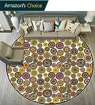 Geometric Bathroom Round Carpet Colorful Circle Bulls Eye Rug Multi Colored Diameter-63