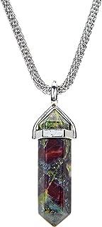Tacool Gemstone Hexagonal Pointed Reiki Chakra Beaded Pendant Neclace Stainless Steel Chain 20 Inches (Dragon Blood Jasper)