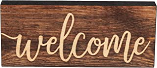 P. Graham Dunn Welcome Script Design Brown 6 x 2.5 Inch Solid Pine Wood Farmhouse Stick Sign