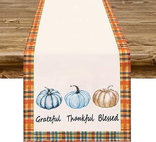 Fall Table Runner Decor, Grateful Thankful Blessed Pumpkins Burlap Table Runner Farmhouse Style for Harvest Autumn Thanksg...