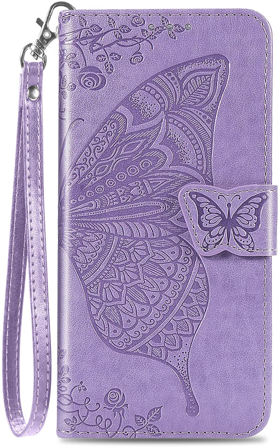 DiGPlus Galaxy S21 5G Wallet Case, [Butterfly & Flower Embossed] PU Leather Wallet Case Flip Protective Phone Cover with Card Slots and Kickstand for Samsung Galaxy S21 6.2-Inch (Lavender)