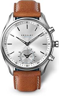 Kronaby - Montre Hybride Kronaby SEKEL bracelet marron - cadran argent 43 mm
