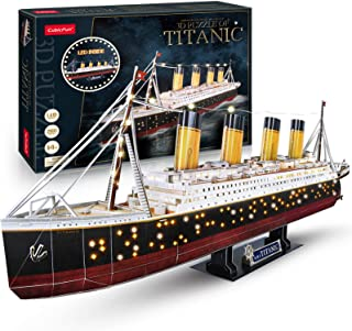 CubicFun LED 3D Puzzle Titanic Ship 3D Puzzles for Adults RMS Toys Model Kits 34.6'', Difficult Watercraft Jigsaw Family Puzzle 3D and Cruise Ship Desk Decor Gifts for Women Men, 266 Pieces