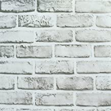 """Wallpaper Brick, Removable Self-Adhesive Contact Paper Roll for Room Decor (17.71"""" x 196.85"""") (White)"""