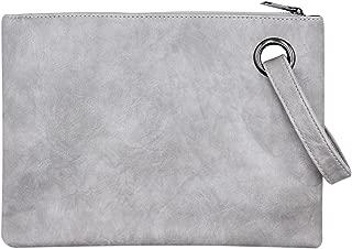 Women Oversized Envelope Handbag Soft Leather Clutch Evening Bag Purse with Wrist Strap