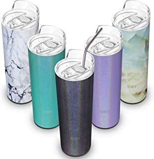 Stainless Steel Insulated Skinny Tumbler - THILY 20 oz Vacuum Insulated Cup with Splash-proof Lid and Straw, Reusable, BPA Free, Fit Cup Holder, Keeps Hot or Cold for Ice Coffee, Water, Glitter Gray