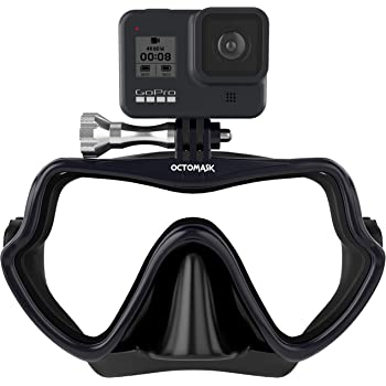 OCTOMASK - Frameless Dive Mask w/Mount for All GoPro Hero Cameras for Scuba Diving, Snorkeling, Freediving