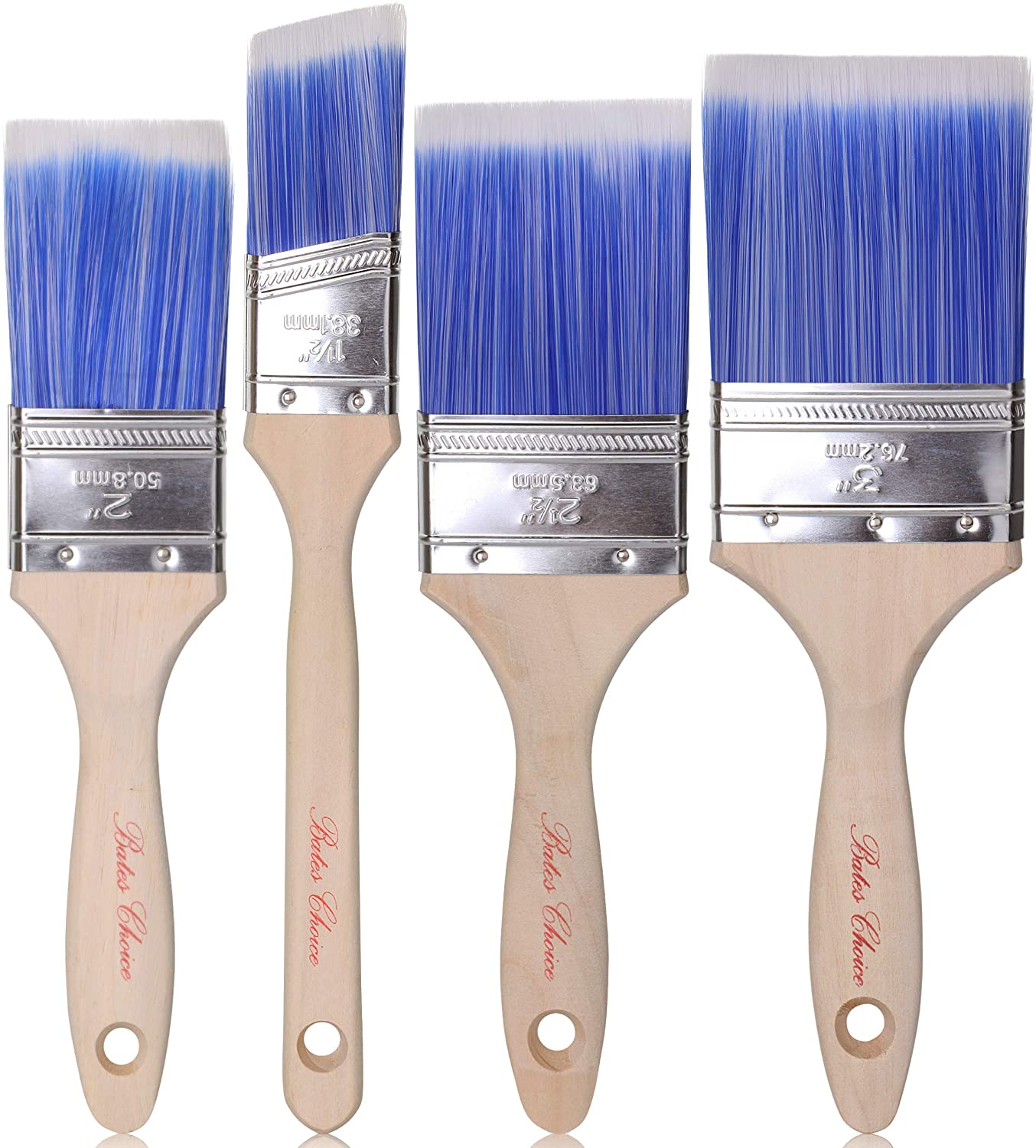 Bates Paint Brushes - 4 Pack, Treated Wood Handle, Paint Brush, Paint Brushes Set, Professional Brush Set, Trim Paint Brush, Paintbrush, Small Paint Brush, Stain Brush: Home & Kitchen