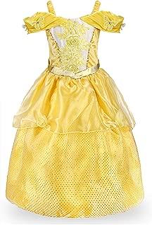 JerrisApparel Girls Princess Belle Costume Halloween Party Off Shoulder Dress