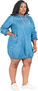 Poetic Justice Plus Size Curvy Women's Tencel Denim Drawstring Hoodie Mini Dress