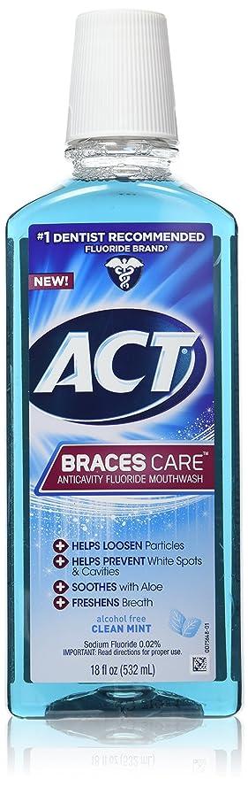 溶けた電卓早いACT 中括弧ケアアンチキャビティフッ化物洗口液、クリーンミント、18オンス 1パック