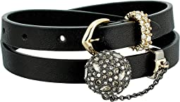 Alexis Bittar - Crystal Encrusted Ball & Chain Double Wrap Leather Bracelet