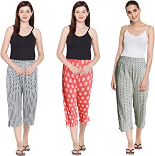 Fflirtygo Capri for Women Cotton, Night Pyjamas for Women, Capri for Women, Nightwear Capri for Women, Printed 3/4 Pyjama(Pack of 3Pcs), Prints May Vary (Assorted Capri)
