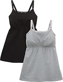 Loving Moments by Leading Lady Women's Cotton Nursing Tank with Lace Trim and Full Sling