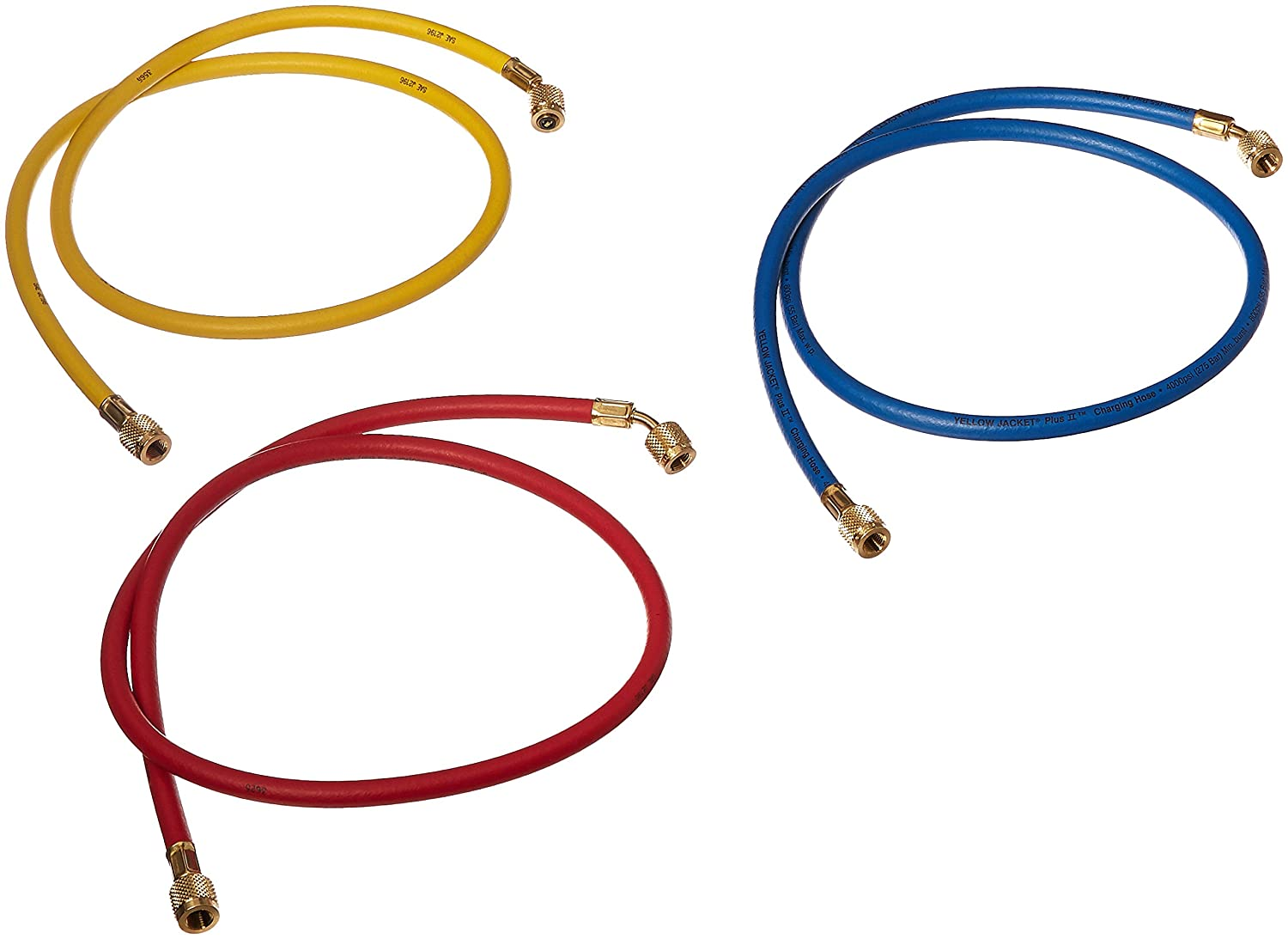 """Yellow Jacket 21984 Plus II Hose Standard 1/4"""" Flare Fittings, 48"""", Red/Yellow/Blue (Pack of 3): Automotive Air Conditioning Repair Tools: Industrial & Scientific"""