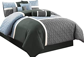Chezmoi Collection 7-Piece Quilted Patchwork Comforter Set (Queen, Gray/Charcoal/Blue)
